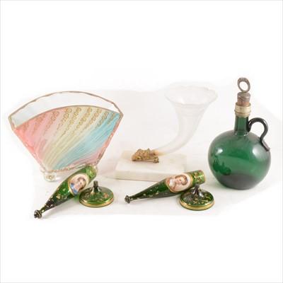 Lot 42-A Victorian frosted glass Cornucopia vase, set on a marble plinth, etc