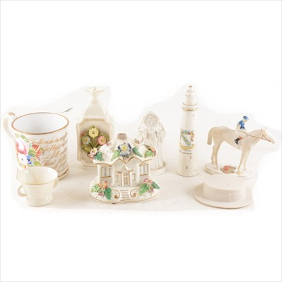 Lot 43-A Victorian bone china sentimental mug, and a small collection of crested china