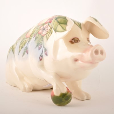 Lot 548-A rare Moorcroft Pottery 'Peter the Pig', circa 1990