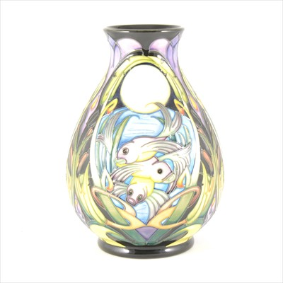 Lot 23-A 'Shearwater Moon' limited edition Moorcroft Pottery vase, designed by Emma Bossons