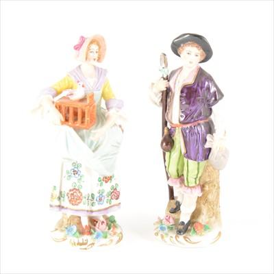 Lot 9-A pair of Sitzendorf porcelain figures