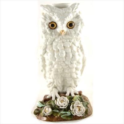 Lot 2-A Victorian porcelain lamp base, designed as an owl