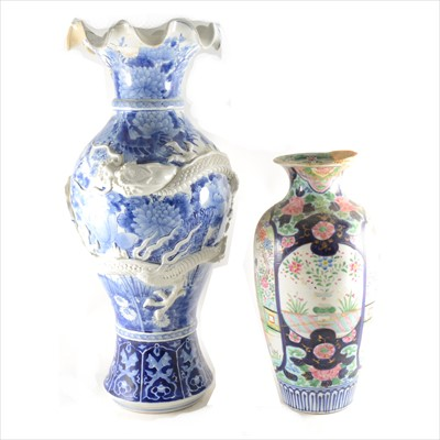 Lot 11-A large Japanese blue and white vase; and a polychrome vase