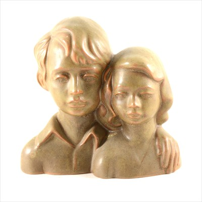 Lot 28-Eric Griffiths for the Fulham Pottery, bust of two children