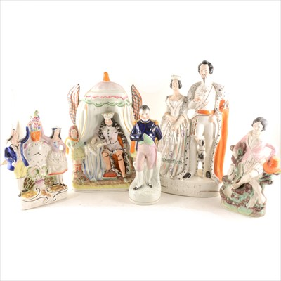 Lot 41-Staffordshire, group, Queen and King of Sardinia, ...