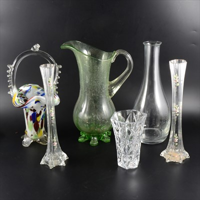 Lot 73-A pair of Edwardian glass spill vases, enamelled decoration; and other glassware.