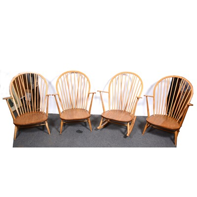 Lot 10-Three Ercol armchairs and similar rocking chair