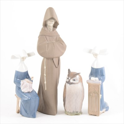 Lot 17-Three Lladro figures and a Copenhagen Owl modelled by Theodor Madsen