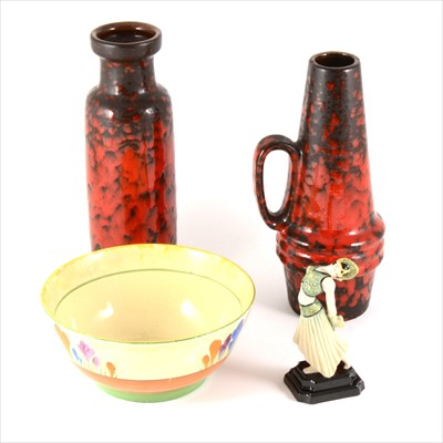 """Lot 37-A Clarice Cliff Crocus bowl, Peggy Davies Guild Issue figurine """"Jade"""" 2001,  a German red glaze vase and jug, 23cm."""