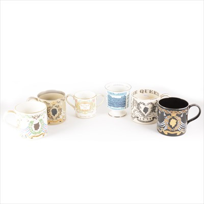 Lot 92-Small collection of Wedgwood commemorative ware and three Coalport items