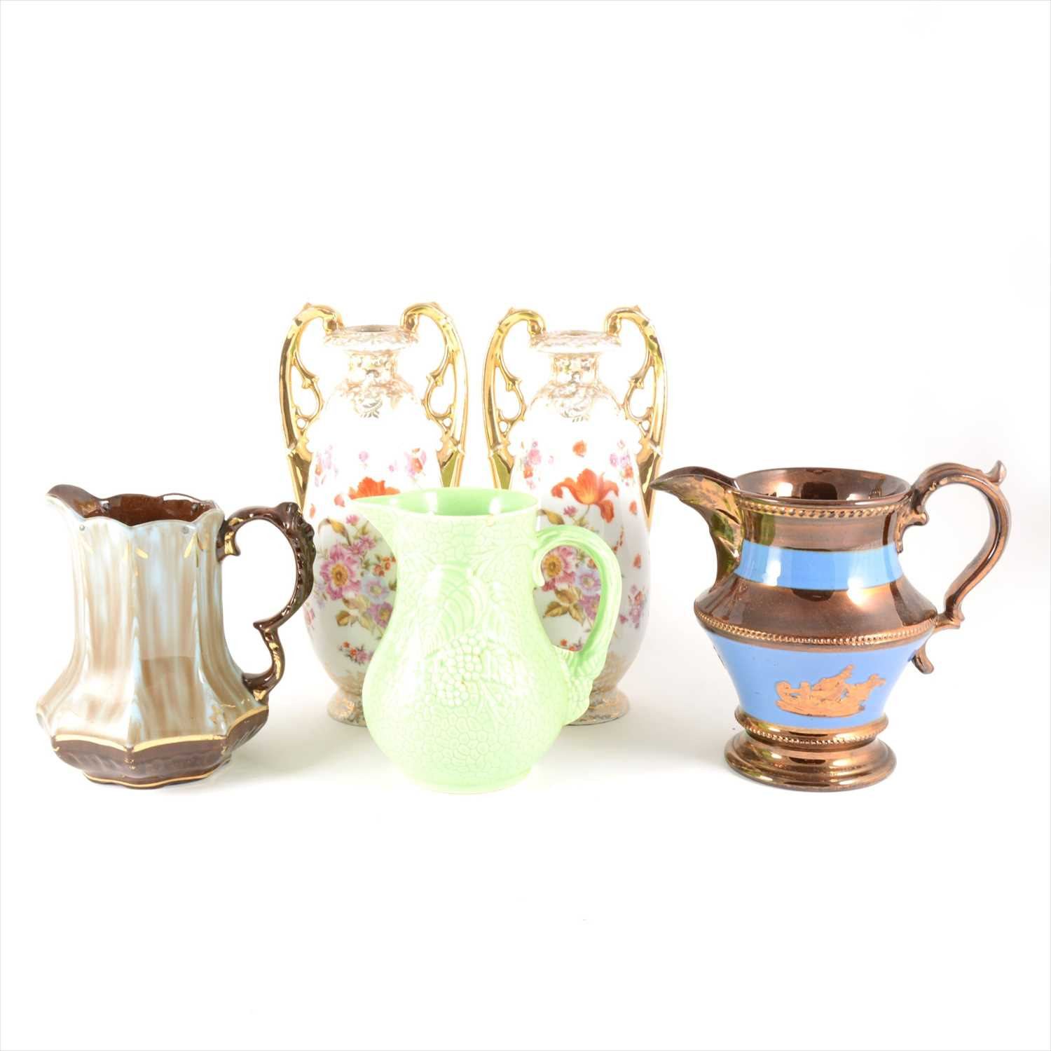 Lot 22-Selection of ceramics including a pottery clock, Carlton Ware lobster bowl, etc