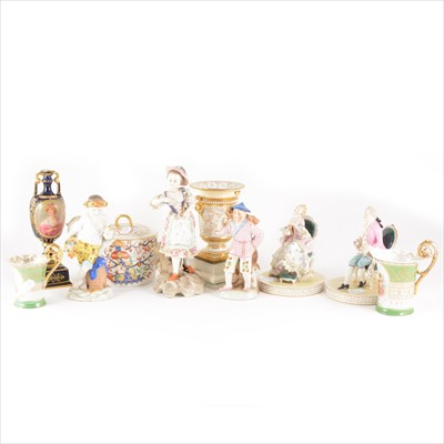 Lot 18-Assorted English and Continental porcelain figures and vessels