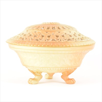 Lot 3-A Royal Worcester blush pot pourri bowl and cover, dated 1898.
