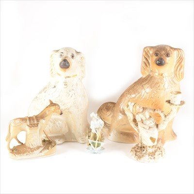 Lot 56-Two boxes of Staffordshire King Charles spaniels and flatback figures
