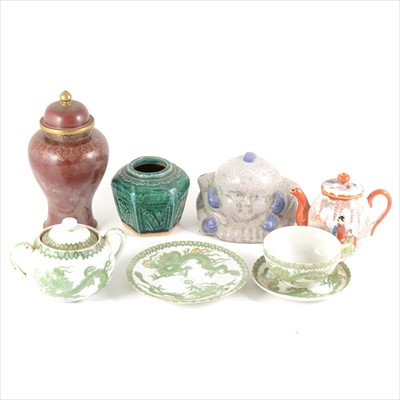 Lot 53-Small selection of Asian ceramics and a cloisonné vase and cover