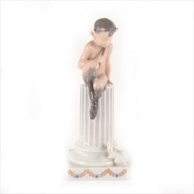 Lot 1-Royal Copenhagen figure of a Faun on Column with Rabbit, model no.456.