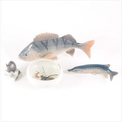 Lot 4-Four items of Royal Copenhagen, including two model fish no.1138, a mouse, and a Aluminia dish