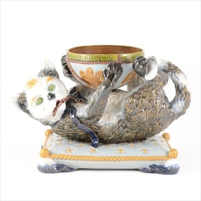Lot 24-A continental majolica bowl with reclining cat, by Gerbing & Stephan