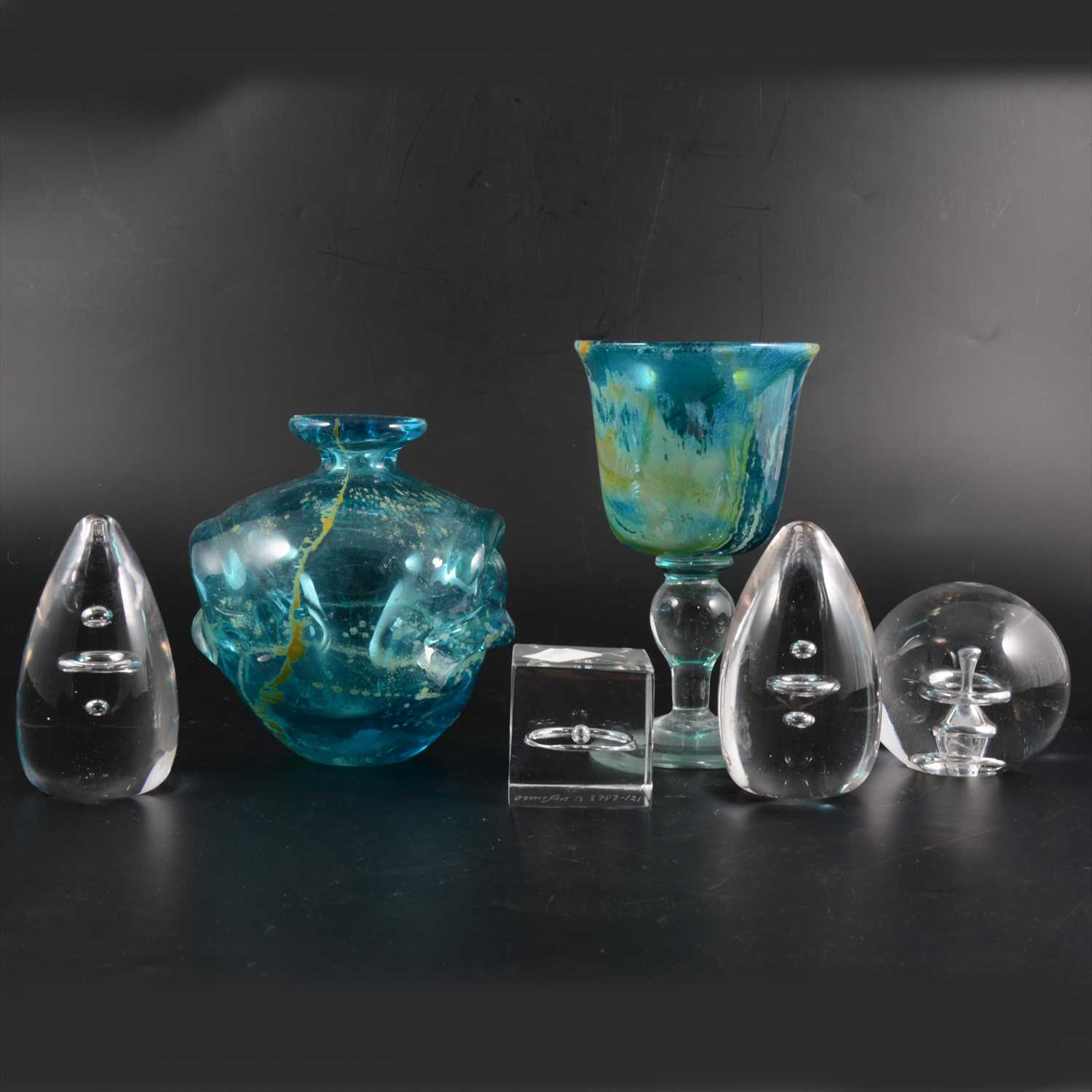 Lot 16-Two pieces of Mdina glass and four Orrefors paperweights