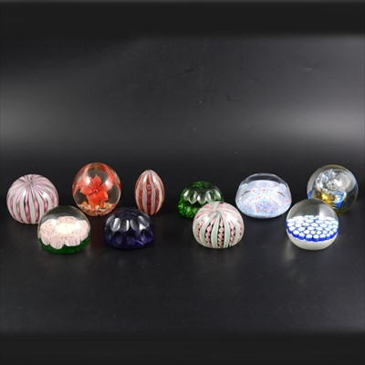 Lot 45-Collection of paperweights including Murano, two Webb, Strathearn and others.