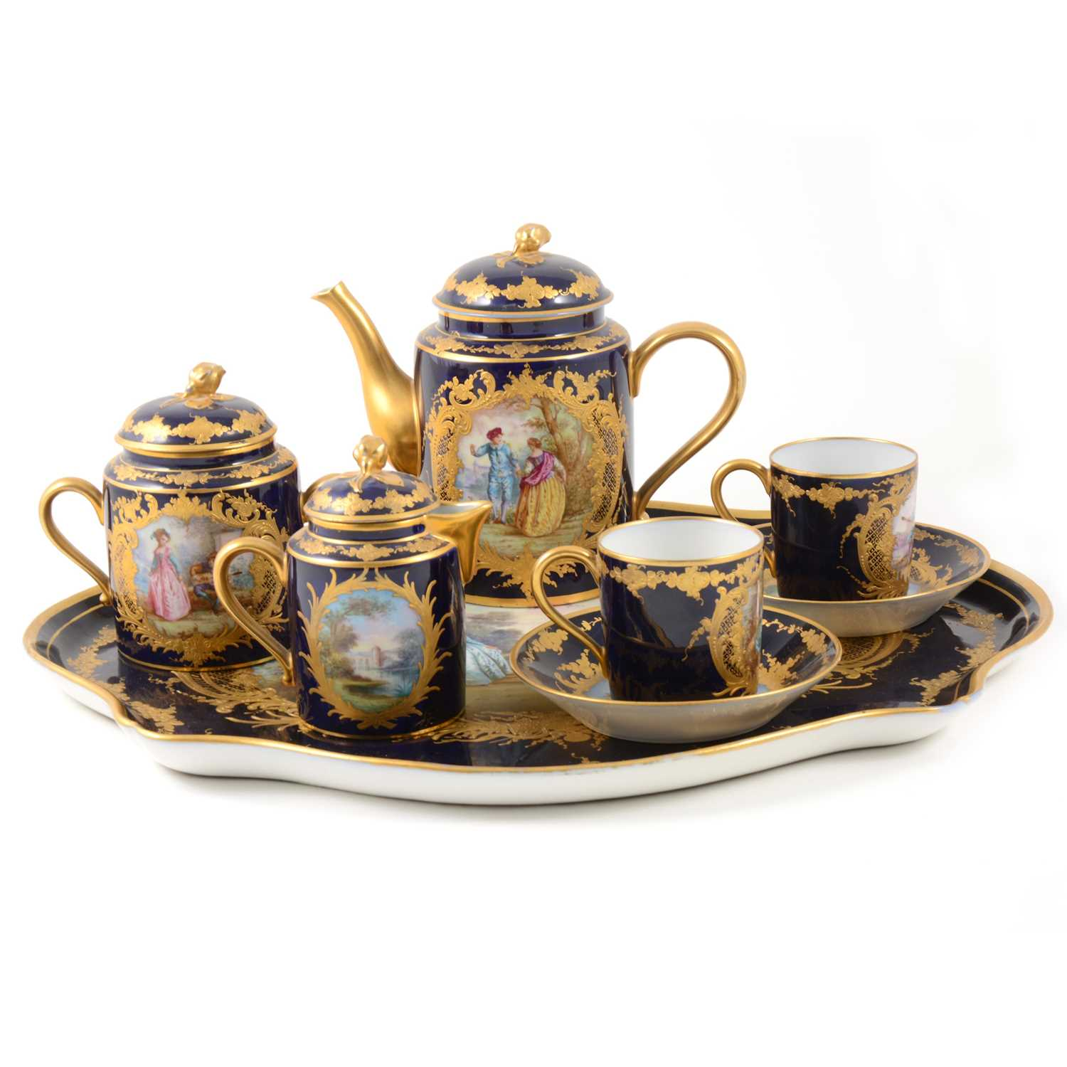 370 - A Sevres style cabaret set, probably Limoges, late 19th century