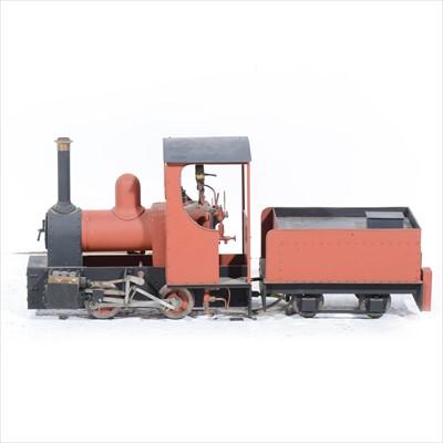 "Lot 39-A scratch built live steam tank engine locomotive, 3.5"" gauge, with tender, 61cm length."