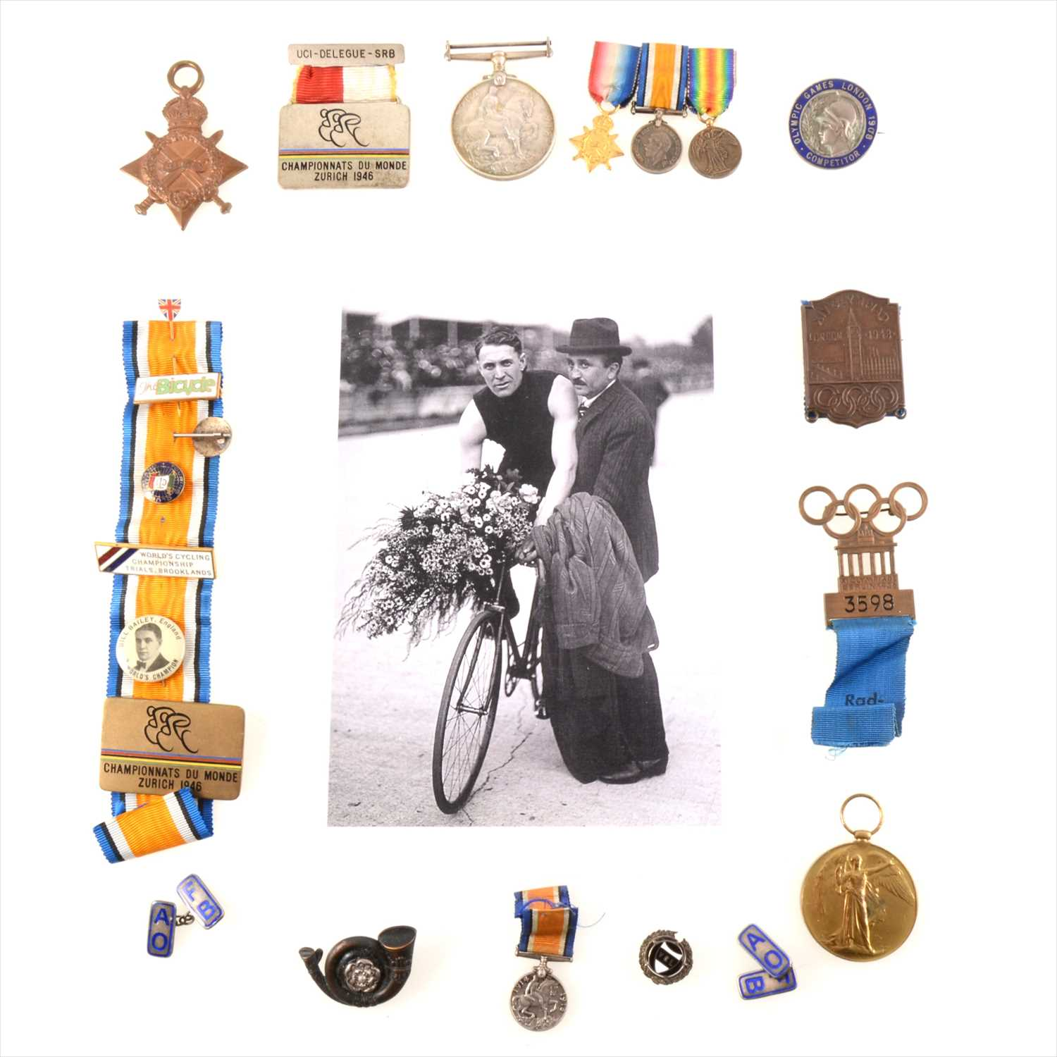 """Lot 179 - The London 1908 Olympic Games Competitor badge of William """"Bill"""" Bailey, Sprint Cycling World Champion 1909-1911"""