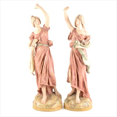 Lot 64-Pair of Royal Dux figures, Lady with Lute, and Lady with Flowers