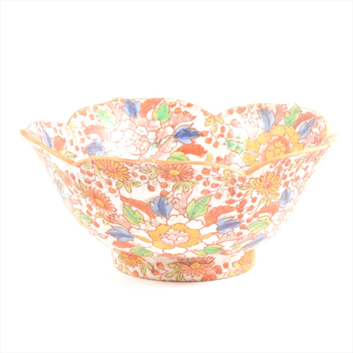 Lot 11-Antique Chinese polychrome floral bowl, six character mark to base.