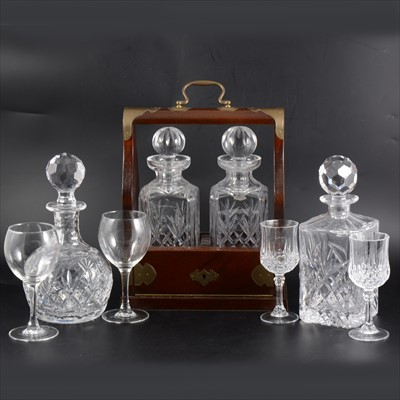 Lot 76-Modern two bottle tantalus with Stuart Crystal decanters, and a small quantity of cut-glass tableware.