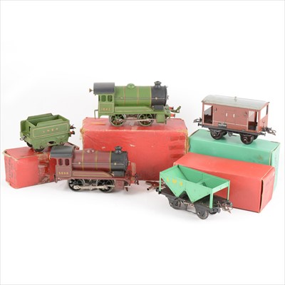 Lot 41-A collection of O gauge model railways; mostly Hornby, including no.501 locomotive boxed, another, wagons and track.
