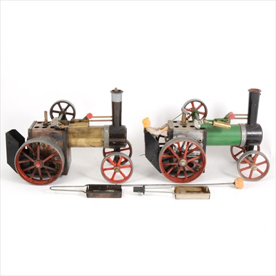 Lot 33-Mamod live steam; two TE1A traction engines, in gold and green, both canopies missing