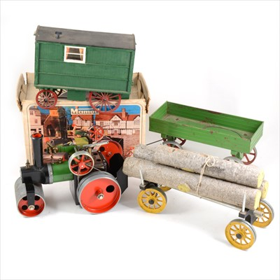 Lot 29-Mamod live steam; SR1A steam roller model, boxed, two trailer and a Gypsy type wagon.