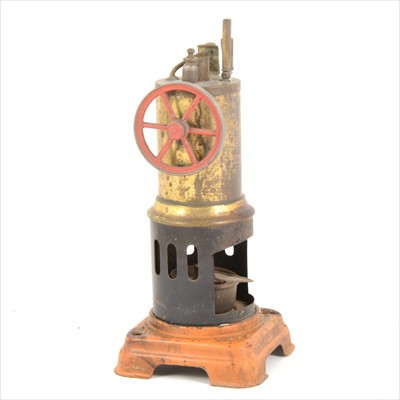 Lot 14-A German made vertical single cylinder live steam stationary engine, with burner, (no chimney), 21cm tall.