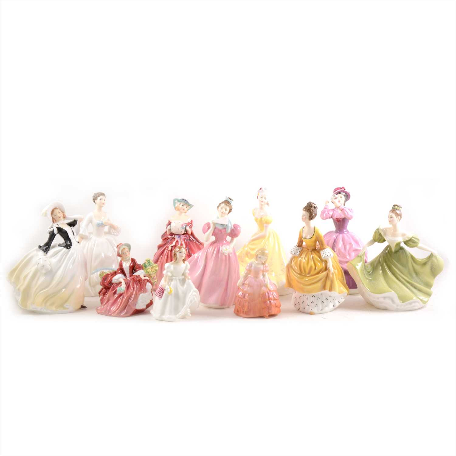 Lot 37-Eleven Royal Doulton lady figurines.
