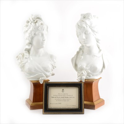 "Lot 12-A pair of Royal Worcester glazed busts modelled by Arnold Machin O.B.E.,.  R.A. ""Night and Day."""