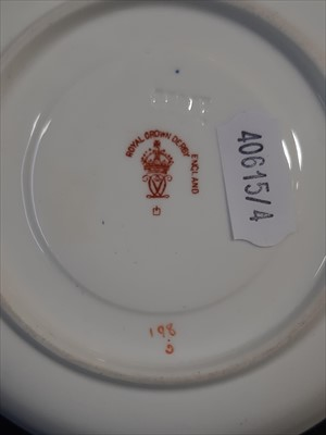 "Lot 13-A Crown Derby cup and saucer ""In North Wales."" and four others"