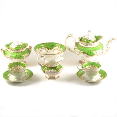 Lot 43-A Rockingham style teaset, green and gilt decoration