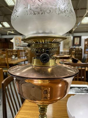 Lot 516-A brass and copper oil lamp, by W. A. S. Benson