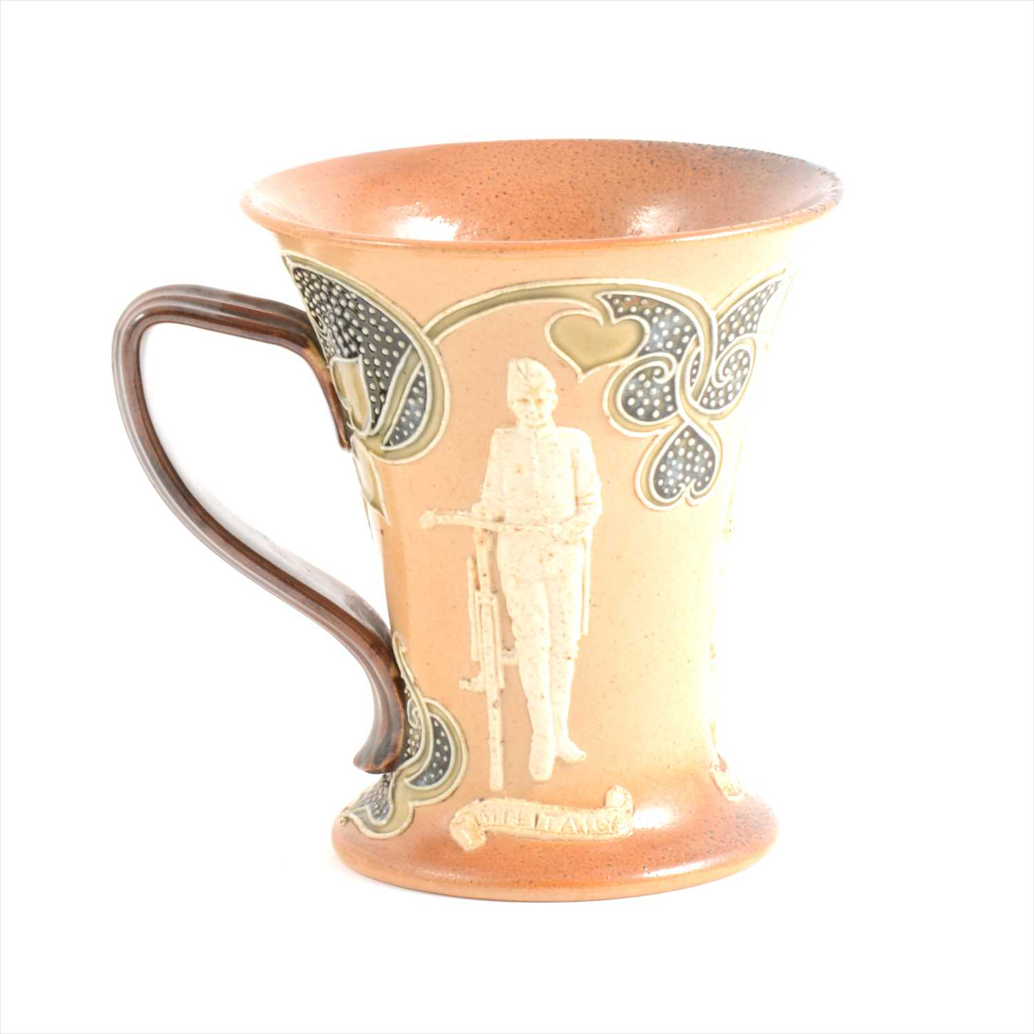 Lot 8-A Doulton Lambeth stoneware mug - Military, Road, Path Cyclists- by John Broad