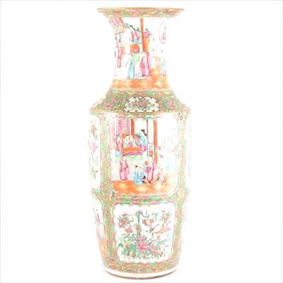 Lot 83-Large Cantonese polychrome vase, panels painted with Mandarin figure