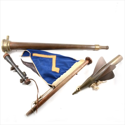 Lot 70-Box of military and fire related items, including late copper and brass hose attachment