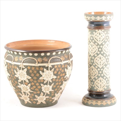 Lot 35-A Doulton Slater's Patent stoneware Jardiniere, and a water filter column