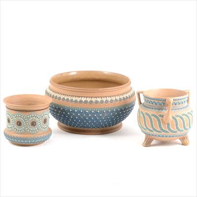 Lot 88-Three Doulton Silicon Ware stoneware jardinieres