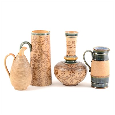 Lot 65-Four stoneware items by Doulton Slater's Patent