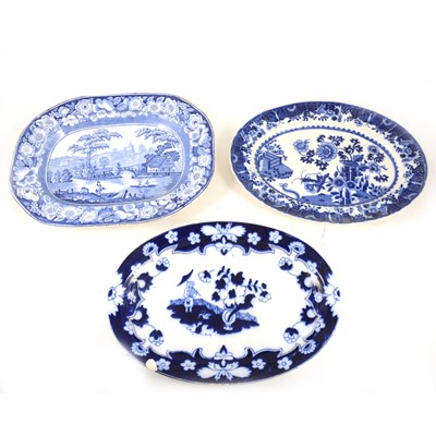 Lot 1024-Collection of blue and white pottery meat plates.
