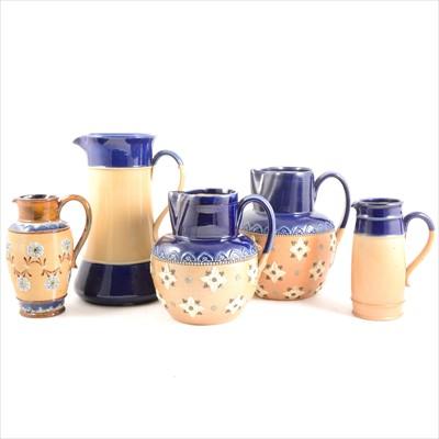 Lot 50-Five assorted Doulton Lambeth stoneware jugs
