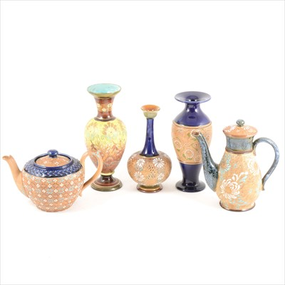 Lot 84-Seven items of Doulton Slater's Patent stoneware, including vases, teapots, and a bowl