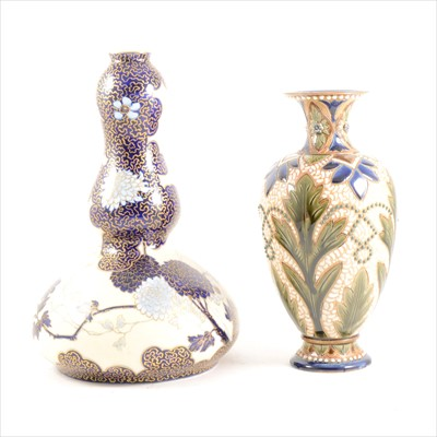 Lot 15-An Ernst Wahliss pottery gourd vase, and a Fulham Pottery stoneware vase