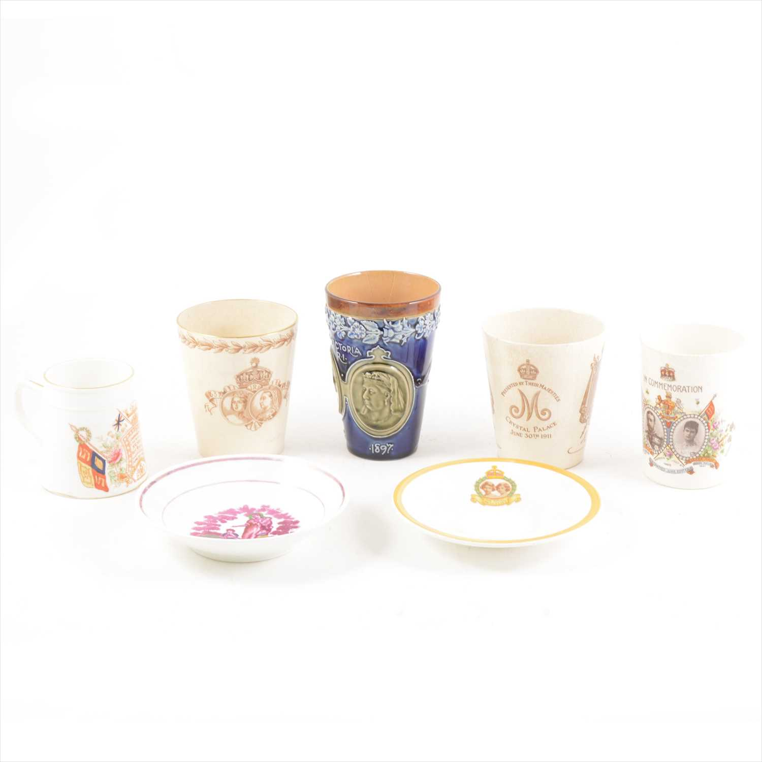 Lot 41-Doulton commemorative beakers and mugs